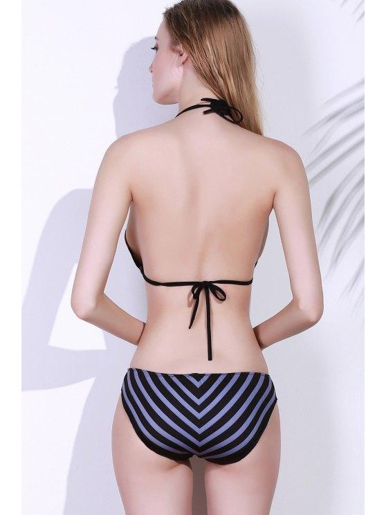 Lace Up Halter Printed Bikini Set - COLORMIX L Mobile