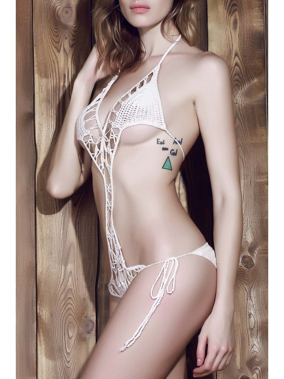 White Halter Crochet One-Piece Swimwear - WHITE ONE SIZE(FIT SIZE XS TO M) Mobile