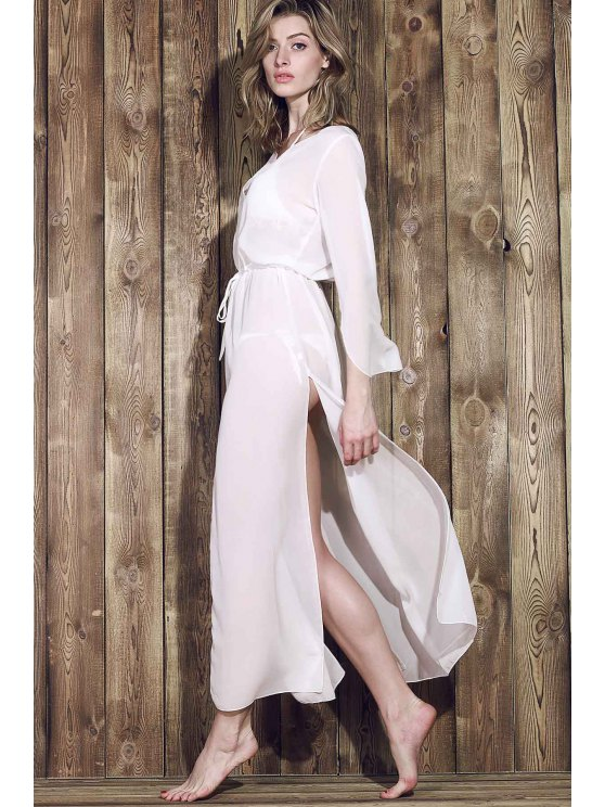 Chiffon V-Neck Long Sleeve Cover Up - WHITE ONE SIZE(FIT SIZE XS TO M) Mobile