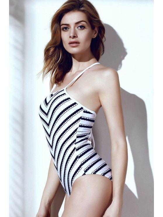 Wavy Stripes One-Piece Swimwear - WHITE AND BLACK L Mobile