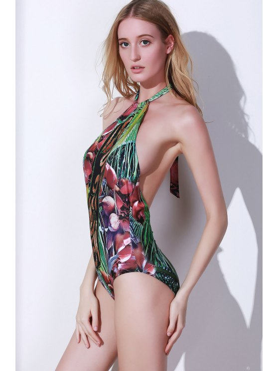 Printed Halter Backless One Piece Swimwear - COLORMIX XL Mobile