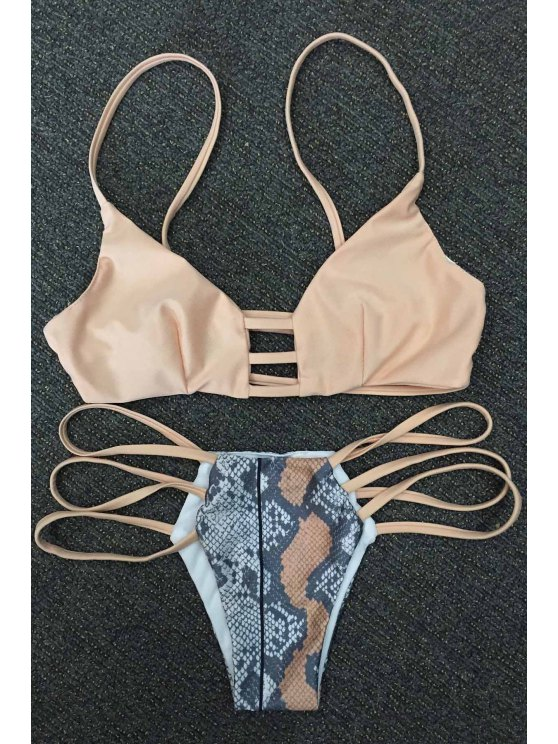 Piel de serpiente de impresión de tiras del bikini Set - Caqui XL