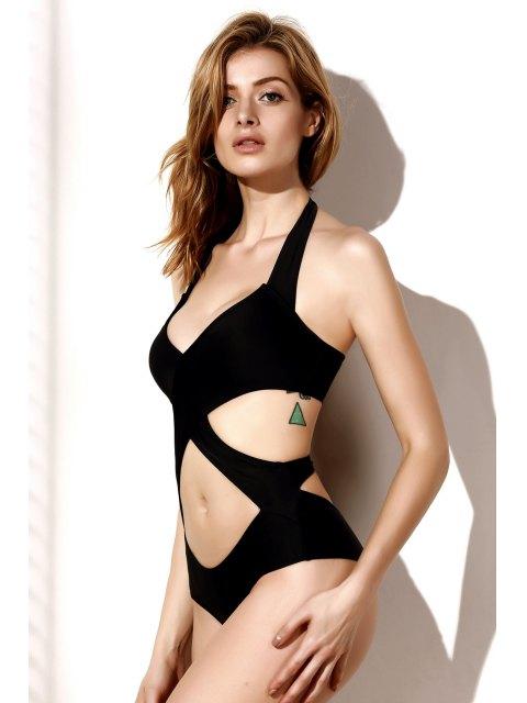 buy Cutout One-Piece Bandage Swimsuit - BLACK M Mobile