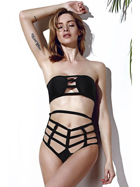 women's Strapless Openwork Bandage Bikini Set - BLACK S Mobile