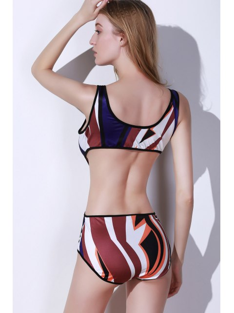 women Printed Cut Out One Piece Swimwear - COLORMIX L Mobile