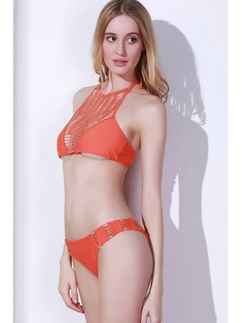 outfits Crochet Spliced High Neck Bikini Set - ORANGE M Mobile