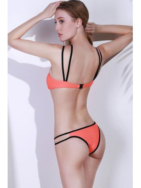 women Spaghetti Strap Cutwork Bikini Set - ORANGE L Mobile