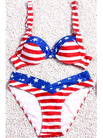 Stripe Spliced Print Straps Bikini Set - Red