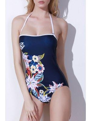 One-Piece Floral Print Bandeau Swimwear - Purplish Blue