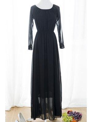 Black Voile Spliced Split Sleeve Off The Shoulder Dress - Black
