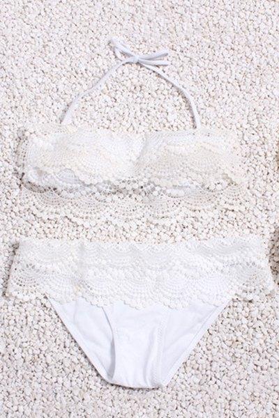 Lacing Spliced Halter Bikini Set 179233501