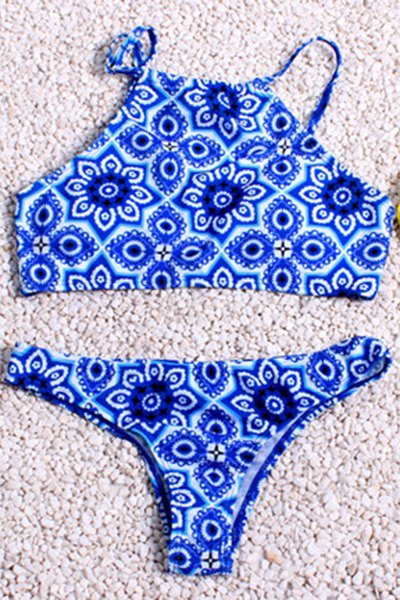High Neck Printed Bikini Set