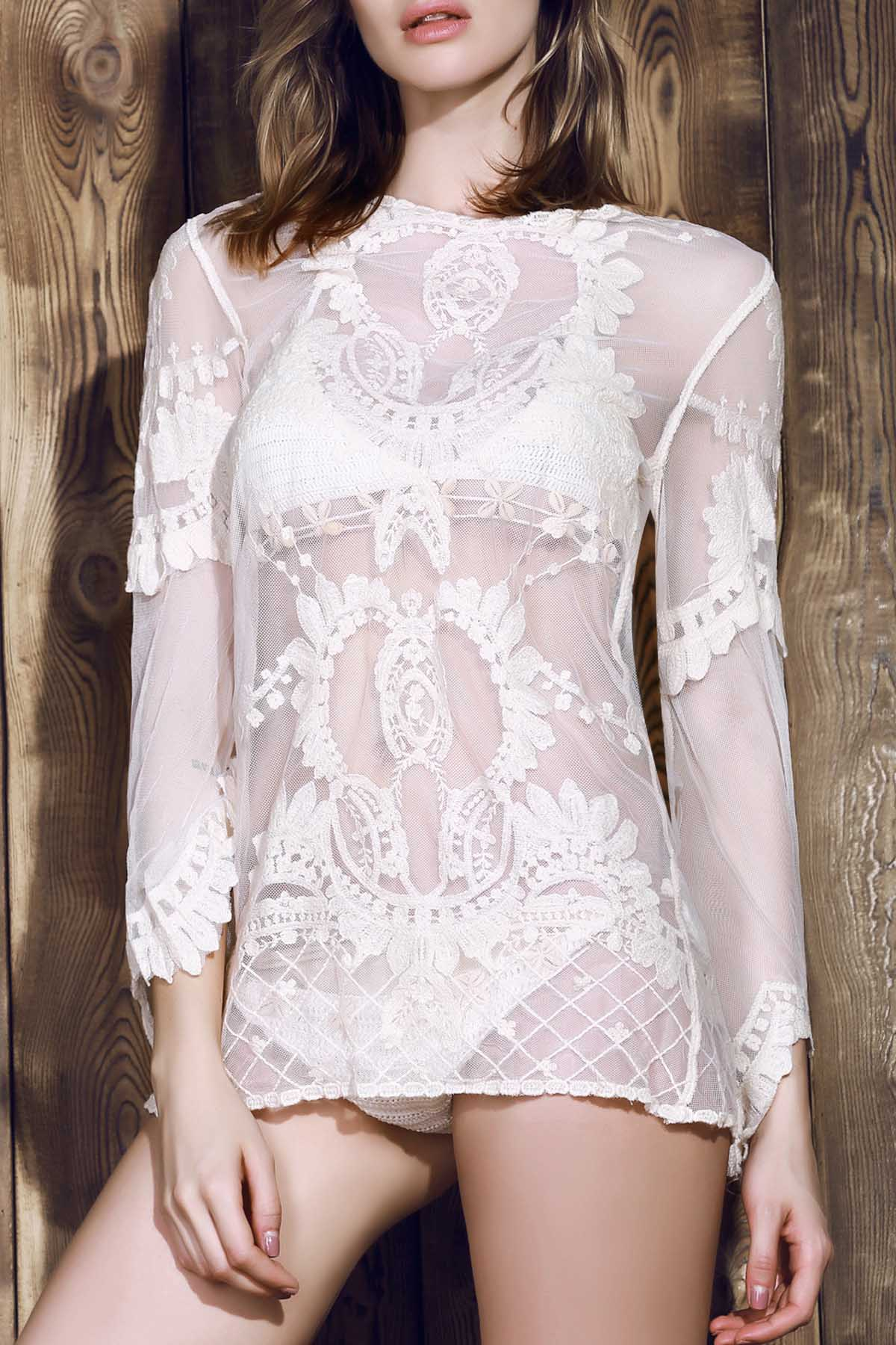 Scoop Neck Long Sleeve Off-White Lace Cover Up