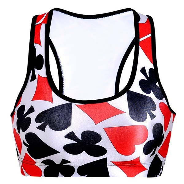 U-Neck Poker Print Racerback Sports Bra