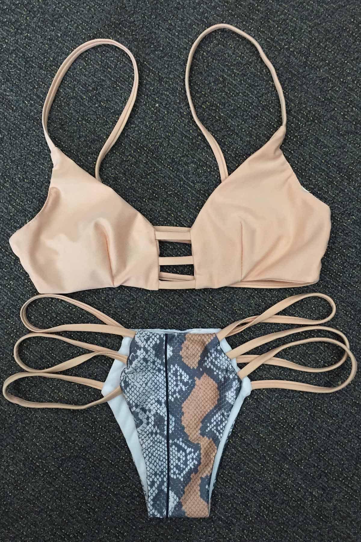 Snakeskin Print Strappy Bikini Set