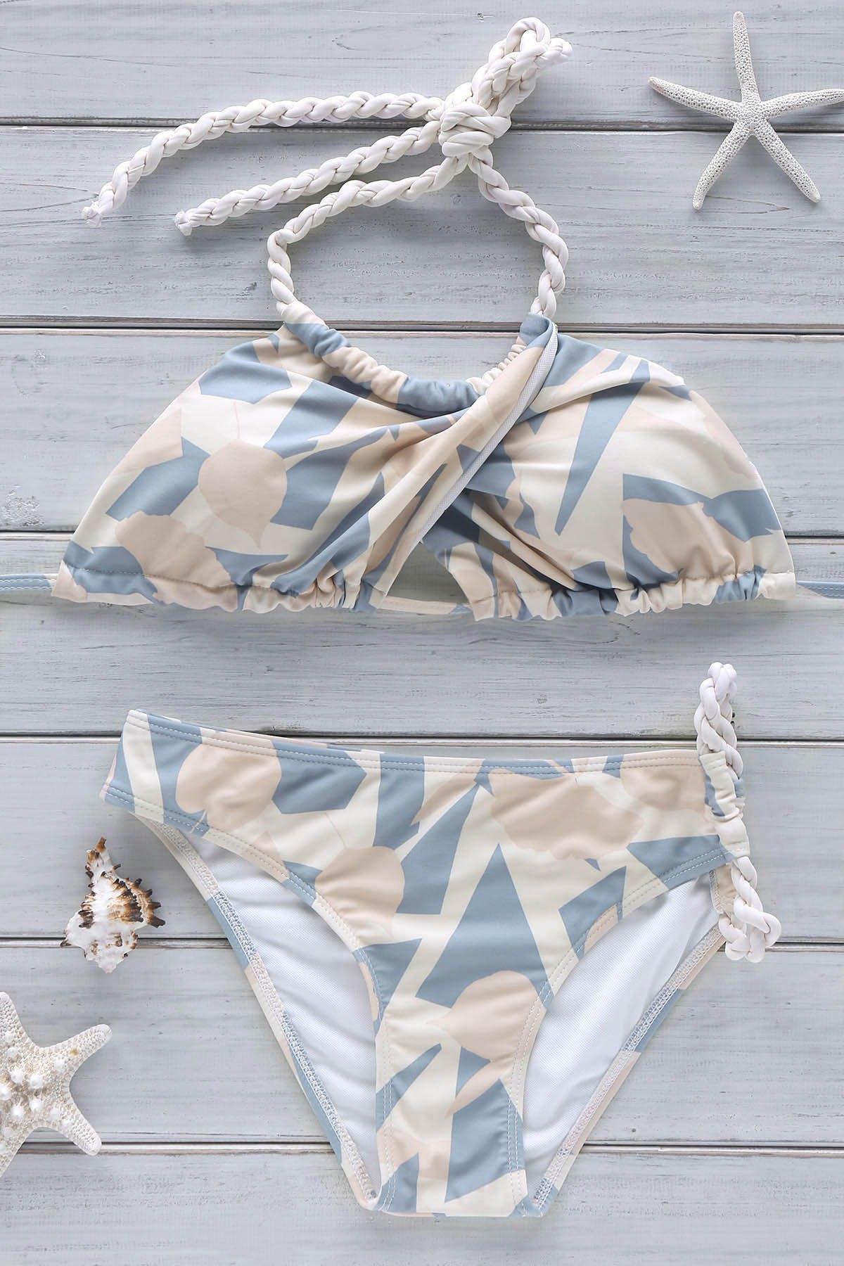 Crossover Halter Printed Bikini