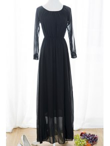 Black Voile Spliced Split Sleeve Off The Shoulder Dress