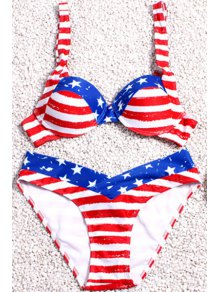 Stripe Spliced Print Straps Bikini Set