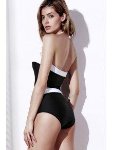 Color Block Strapless One-Piece Swimwear - WHITE/BLACK S