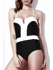 Color Block Strapless One-Piece Swimwear