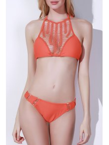 Crochet Spliced High Neck Bikini Set