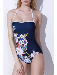 Buy One-Piece Floral Print Bandeau Swimwear - PURPLISH BLUE L