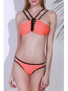 Spaghetti Strap Cutwork Bikini Set