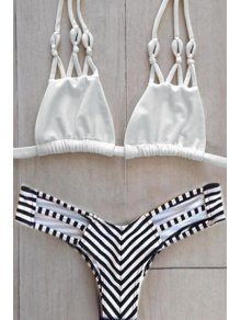 Stripes Halter Bikini Set