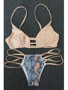 Snakeskin Print Strappy Bikini Set - Khaki