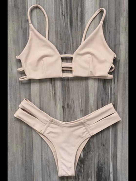 lady Caged Bandage Bikini Swimwear - YELLOWISH PINK S