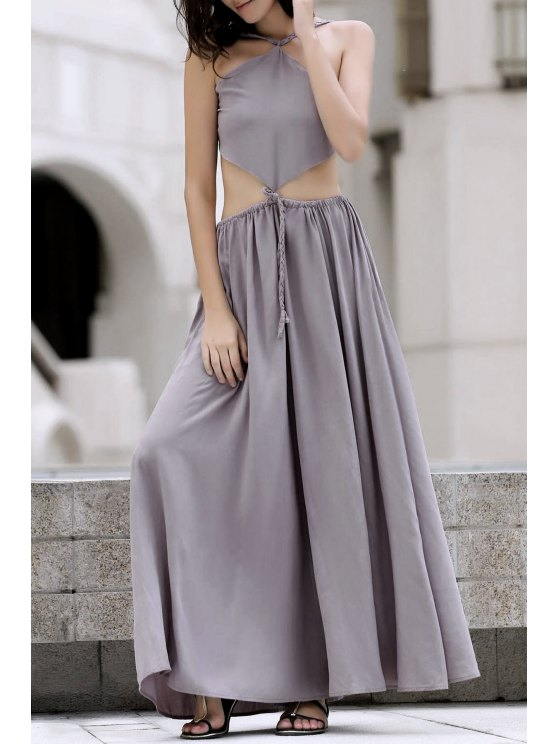 best Backless Swingy Boho Beach Dress - LIGHT PURPLE L
