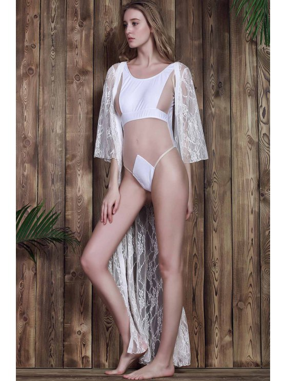 Lace 3/4 Sleeve Long Single-Breasted Cover Up - WHITE 2XL Mobile