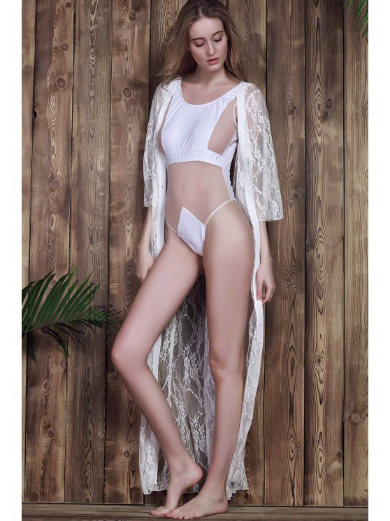 Lace 3/4 Sleeve Long Single-Breasted Cover Up - WHITE L Mobile