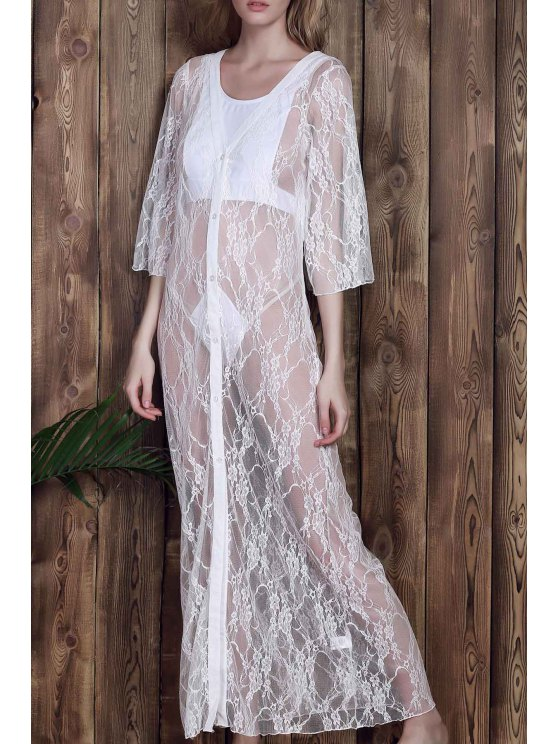 shops Lace 3/4 Sleeve Long Single-Breasted Cover Up - WHITE M