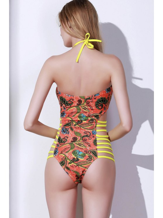 Totem Print High Cut One Piece Swimwear - COLORMIX S Mobile