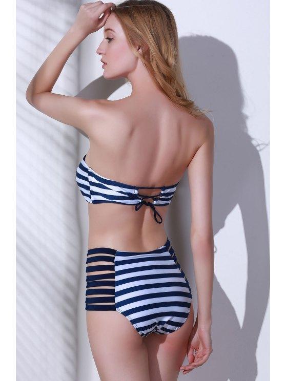 Strapless Striped High-Waisted Bikini Set - BLUE AND WHITE L Mobile