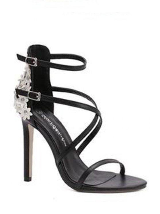 hot Floral Black Stiletto Heel Sandals - BLACK 37