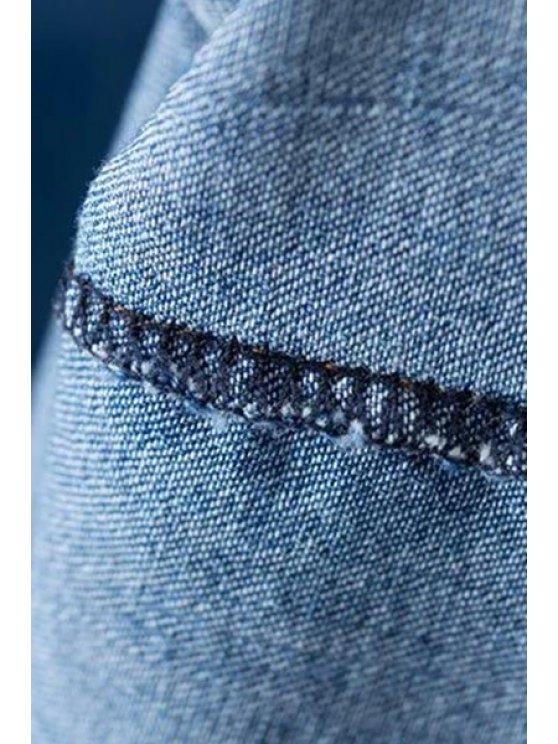 Solid Color Pocket Round Neck Sleeveless Denim Dress - BLUE L Mobile