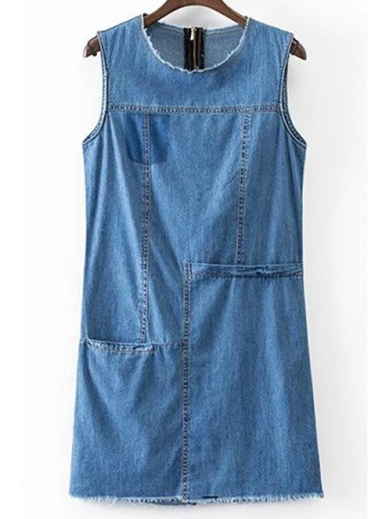 online Solid Color Pocket Round Neck Sleeveless Denim Dress - BLUE L