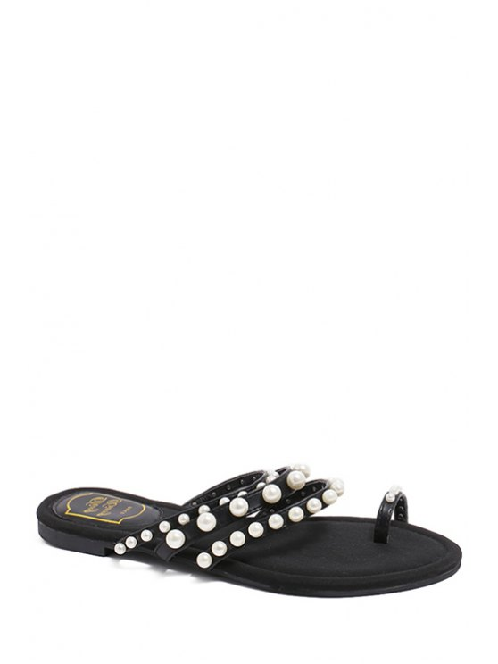 best Faux Pearl Toe Ring Black Slippers - BLACK 39