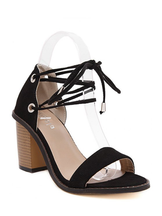 sale Flock Chunky Heel Lace-Up Sandals - BLACK 38