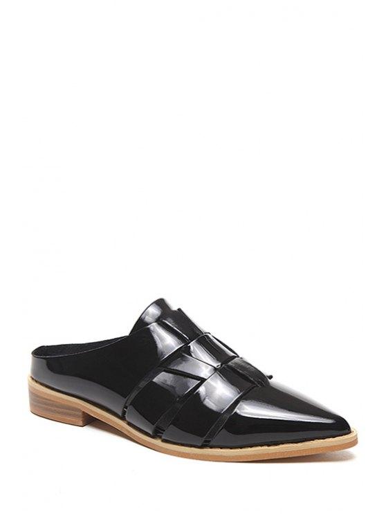unique Pointed Toe Patent Leather Flat Heel Sandals - BLACK 38