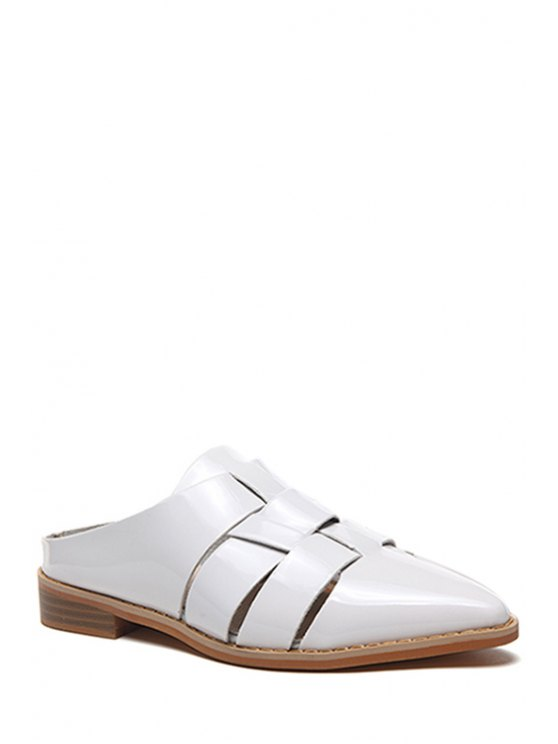 latest Pointed Toe Patent Leather Flat Heel Sandals - WHITE 38