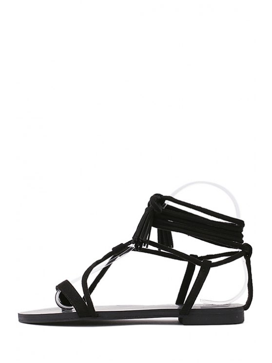 Flat Heel Tassel Lace-Up Sandals - BLACK 38 Mobile