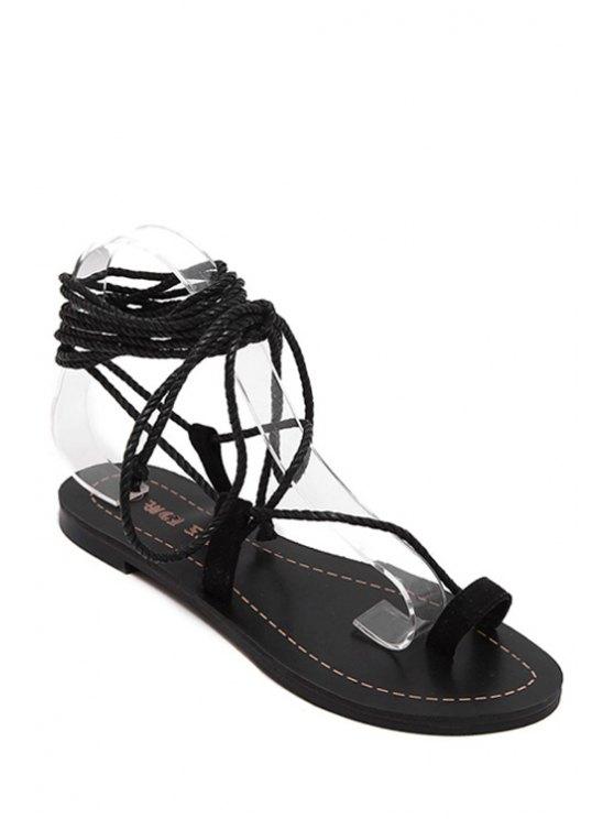 unique Flat Heel Toe Loop Lace-Up Sandals - BLACK 36