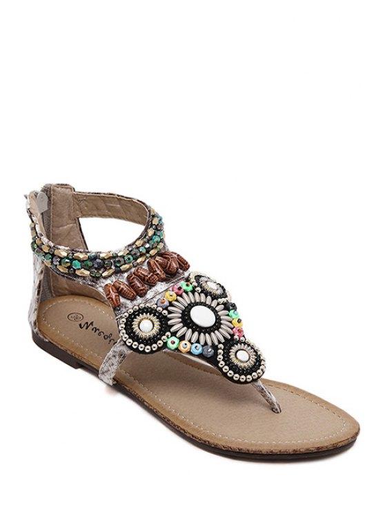 Zip y acc sandalias de tacón plano - Gris 38