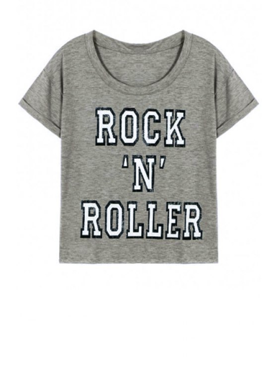 shop Letter Printed Round Neck Short Sleeve T-Shirt - GRAY S