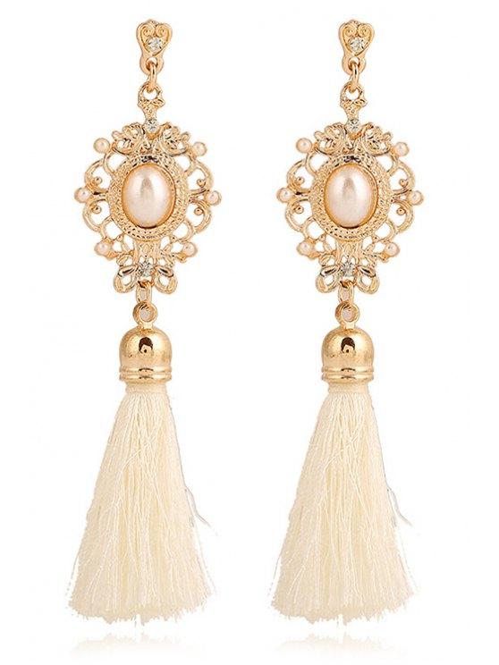 sale Faux Pearl Tassel Pendant Earrings - WHITE