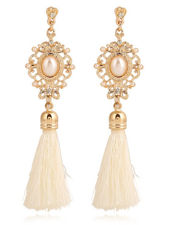 Faux Pearl Tassel Pendant Earrings - WHITE  Mobile