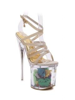 Sequined Cross-Strap Super High Heel Sandals - Golden 37